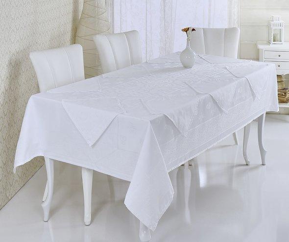 Скатерть с салфетками Verolli ETAMIN JUMNBO SET жаккард белый 160*220, фото, фотография