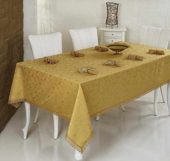 Скатерть с салфетками прямоугольная Evdy KDK золотой 160*300, фото, фотография