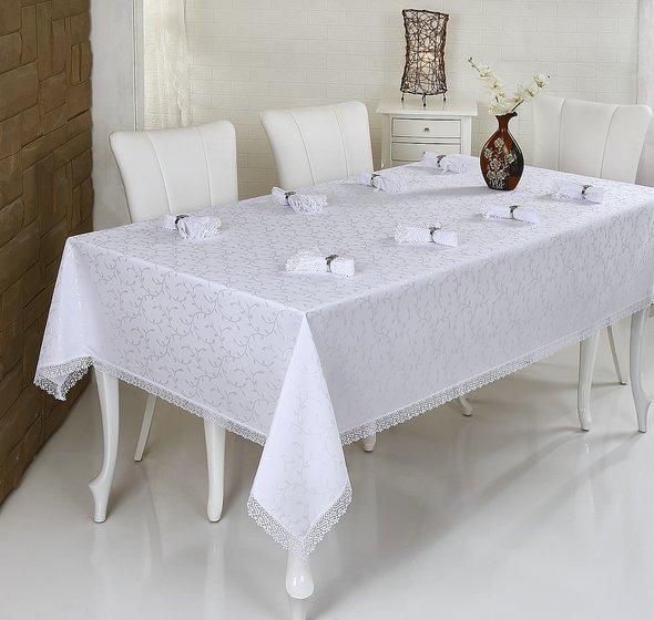 Скатерть с салфетками прямоугольная Evdy KDK белый 160*220, фото, фотография