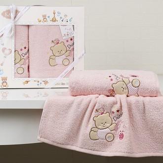 Набор полотенец детских в подарочной упаковка Karna BAMBINO-BEAR махра розовый