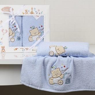 Набор полотенец детских в подарочной упаковка Karna BAMBINO-BEAR махра голубой