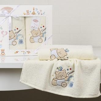 Набор полотенец детских в подарочной упаковка Karna BAMBINO-BEAR махра кремовый