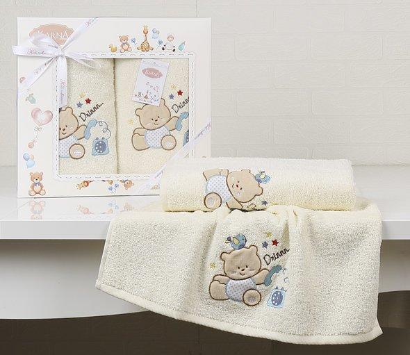 Набор полотенец детских в подарочной упаковка Karna BAMBINO-BEAR махра кремовый 50*70, 70*120, фото, фотография
