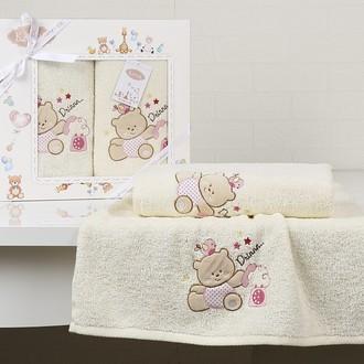 Набор полотенец детских в подарочной упаковка Karna BAMBINO-BEAR махра молочный