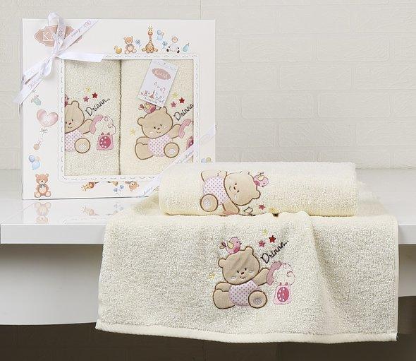 Набор полотенец детских в подарочной упаковка Karna BAMBINO-BEAR махра молочный 50*70, 70*120, фото, фотография