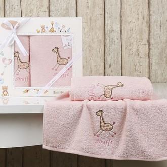 Набор полотенец детских в подарочной упаковка Karna BAMBINO-GIRAFFE махра розовый