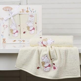 Набор полотенец детских в подарочной упаковка Karna BAMBINO-BUNNY махра молочный