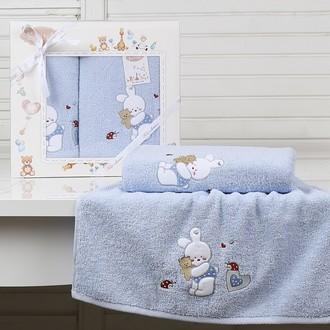 Набор полотенец детских в подарочной упаковка Karna BAMBINO-BUNNY махра голубой