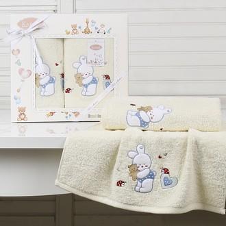 Набор полотенец детских в подарочной упаковка Karna BAMBINO-BUNNY махра кремовый