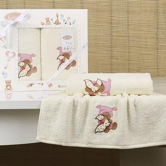 Набор полотенец детских в подарочной упаковка Karna BAMBINO-TEDDY махра молочный
