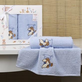 Набор полотенец детских в подарочной упаковка Karna BAMBINO-TEDDY махра голубой