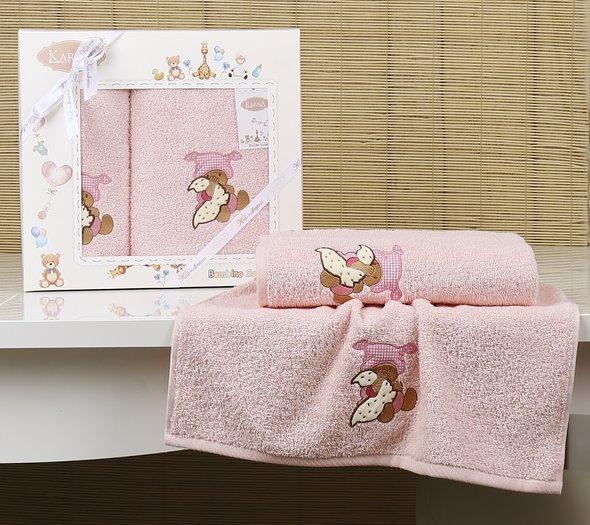 Набор полотенец детских в подарочной упаковка Karna BAMBINO-TEDDY махра розовый 50*70, 70*120, фото, фотография