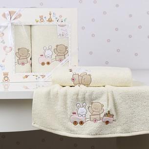 Набор полотенец детских в подарочной упаковка Karna BAMBINO-TRAIN махра молочный 50х70, 70х120