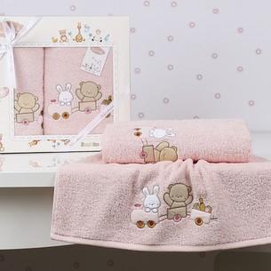 Набор полотенец детских в подарочной упаковка Karna BAMBINO-TRAIN махра розовый 50х70, 70х120