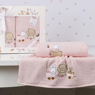 Набор полотенец детских в подарочной упаковка Karna BAMBINO-TRAIN махра розовый