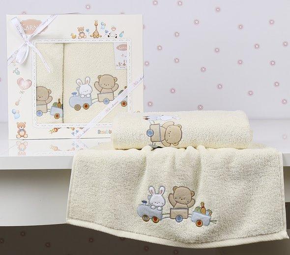 Набор полотенец детских в подарочной упаковка Karna BAMBINO-TRAIN махра кремовый 50*70, 70*120, фото, фотография