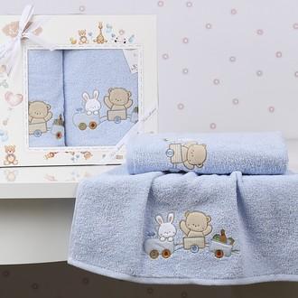 Набор полотенец детских в подарочной упаковка Karna BAMBINO-TRAIN махра голубой