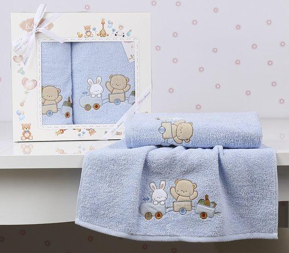 Набор полотенец детских в подарочной упаковка Karna BAMBINO-TRAIN махра голубой 50*70, 70*120, фото, фотография