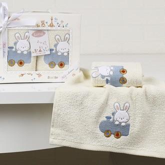 Набор полотенец детских в подарочной упаковка Karna BAMBINO махра голубой V5