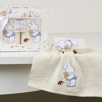 Набор полотенец детских в подарочной упаковка Karna BAMBINO махра голубой V3