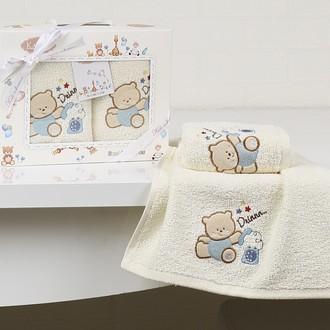 Набор полотенец детских в подарочной упаковка Karna BAMBINO махра голубой V4