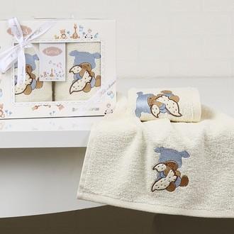 Набор полотенец детских в подарочной упаковка Karna BAMBINO махра голубой V1