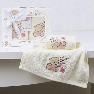Набор полотенец детских в подарочной упаковка Karna BAMBINO махра розовый V4