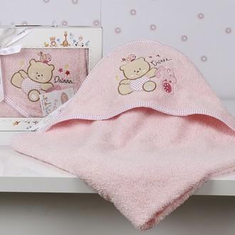 Полотенце-конверт детское Karna BAMBINO-BEAR махра розовый