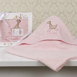 Полотенце-конверт детское Karna BAMBINO-GIRAFFE махра розовый