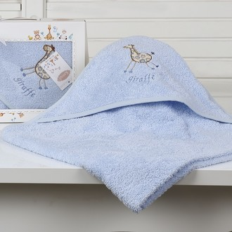 Полотенце-конверт детское Karna BAMBINO-GIRAFFE махра голубой