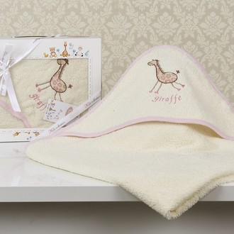 Полотенце-конверт детское Karna BAMBINO-GIRAFFE махра молочный