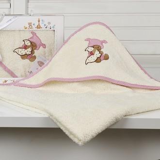 Полотенце-конверт детское Karna BAMBINO-TEDDY махра молочный
