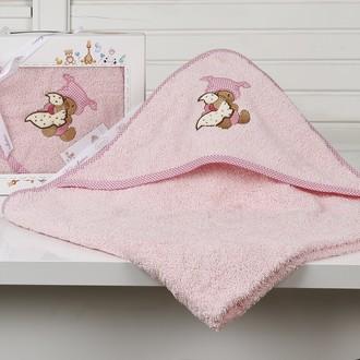 Полотенце-конверт детское Karna BAMBINO-TEDDY махра розовый
