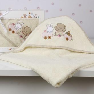 Полотенце-конверт детское Karna BAMBINO-TRAIN махра молочный