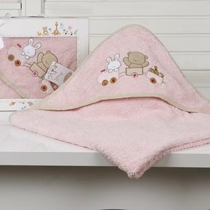 Полотенце-конверт детское Karna BAMBINO-TRAIN махра розовый 90х90