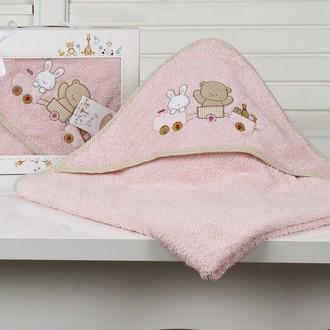 Полотенце-конверт детское Karna BAMBINO-TRAIN махра розовый