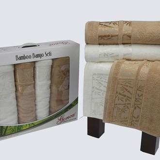 Набор полотенец Gonca LARA (кремовый-коричневый)