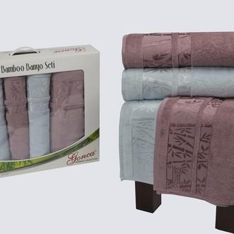 Набор полотенец Gonca LARA голубой+грязно-розовый