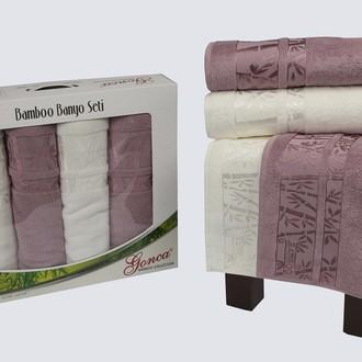 Набор полотенец Gonca LARA махра кремовый+светло-сиреневый