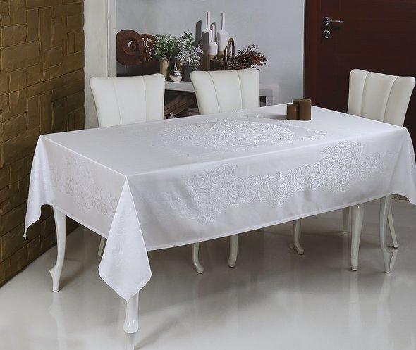 Скатерть прямоугольная Monalit LINEN лен белый 160*220, фото, фотография