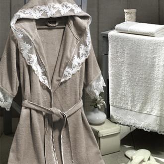 Набор из халата, полотенец, тапочек Altinbasak КЛЕОПАТРА махра бамбук бежевый