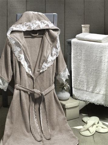 Набор из халата, полотенец, тапочек Altinbasak КЛЕОПАТРА махра бамбук бежевый M, фото, фотография