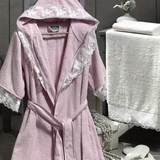 Набор из халата, полотенец, тапочек Altinbasak КЛЕОПАТРА махра бамбук розовый