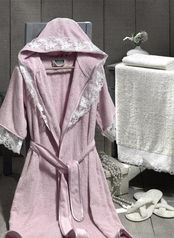 Набор из халата, полотенец, тапочек Altinbasak КЛЕОПАТРА махра бамбук розовый L, фото, фотография