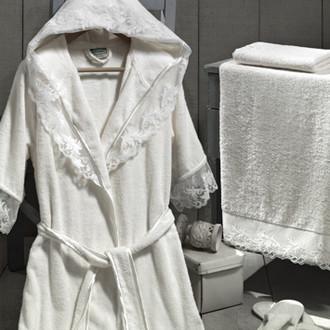 Набор из халата, полотенец, тапочек Altinbasak КЛЕОПАТРА махра бамбук кремовый