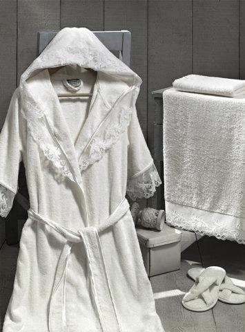 Набор из халата, полотенец, тапочек Altinbasak КЛЕОПАТРА махра бамбук кремовый L, фото, фотография