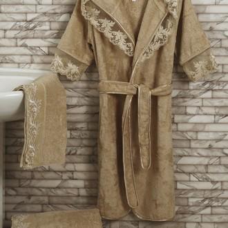 Набор из халата, полотенец, тапочек Altinbasak MARGARETE EXC махра бамбук бежевый