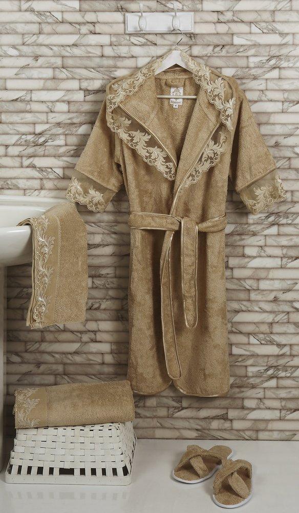 Набор из халата, полотенец, тапочек Altinbasak MARGARETE EXC махра бамбук бежевый M, фото, фотография