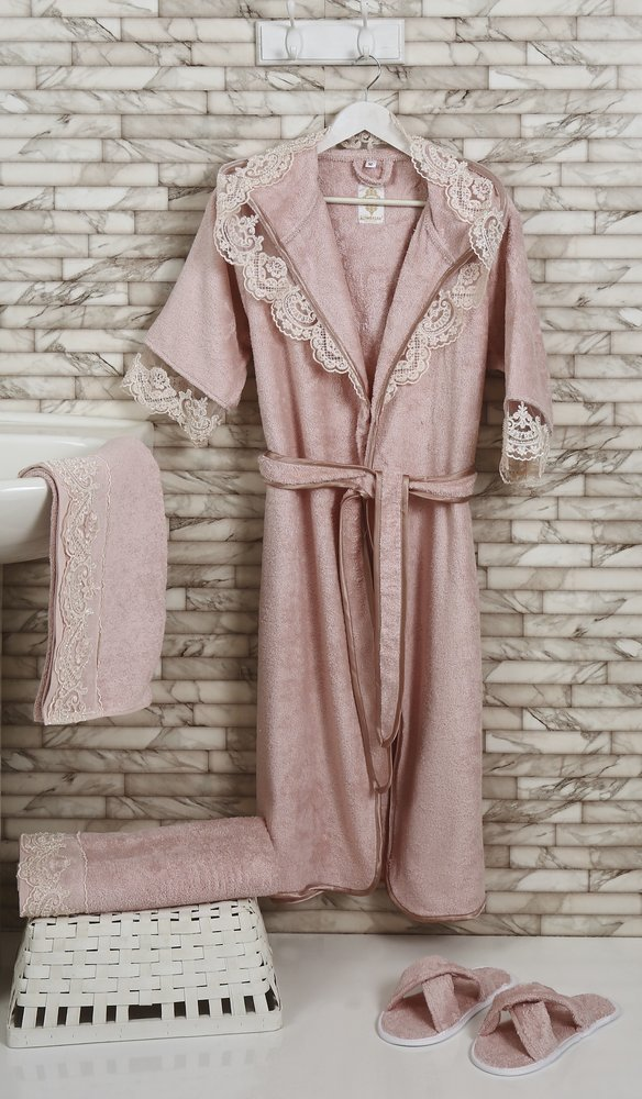Набор из халата, полотенец, тапочек Altinbasak MARGARETE EXC махра бамбук пудра L, фото, фотография