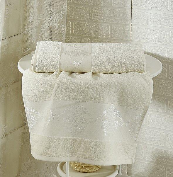 Полотенце для ванной Karna DORA махра хлопок (кремовый) 70*140, фото, фотография